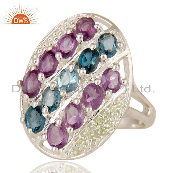 Exporter 925 Sterling Silver Peridot, Amethyst And Blue Topaz Cluster Cocktail Ring