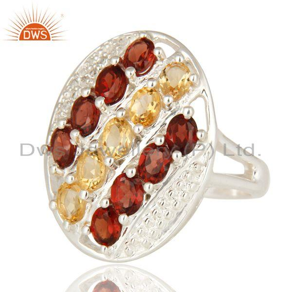 Exporter Garnet And Citrine Gemstone 925 Sterling Silver Prong Setting Ring