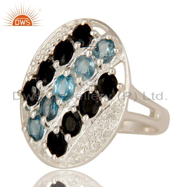Exporter 925 Sterling Silver Blue Topaz, White Topaz & Black Onyx Cluster Statement Ring