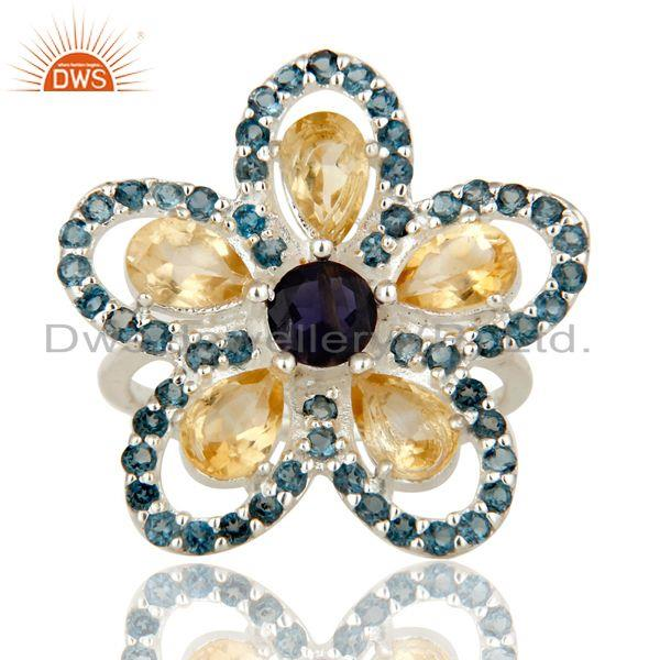 Exporter Flower Designer London Blue Topaz, Amethyst And Iolite Sterling Silver Ring