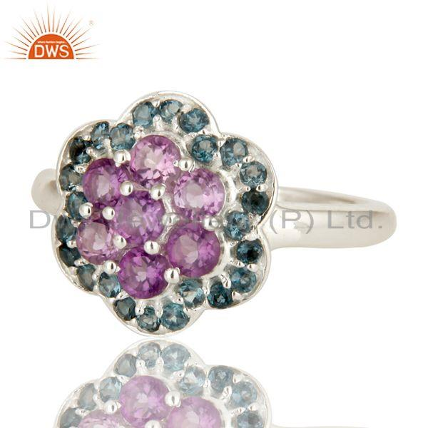 Exporter 925 Sterling Silver Amethyst And Blue Topaz Gemstone Cluster Cocktail Ring