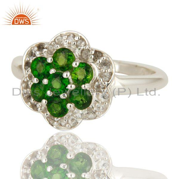 Exporter 925 Sterling Silver Chrome Diopside And White Topaz Cluster Cocktail Ring