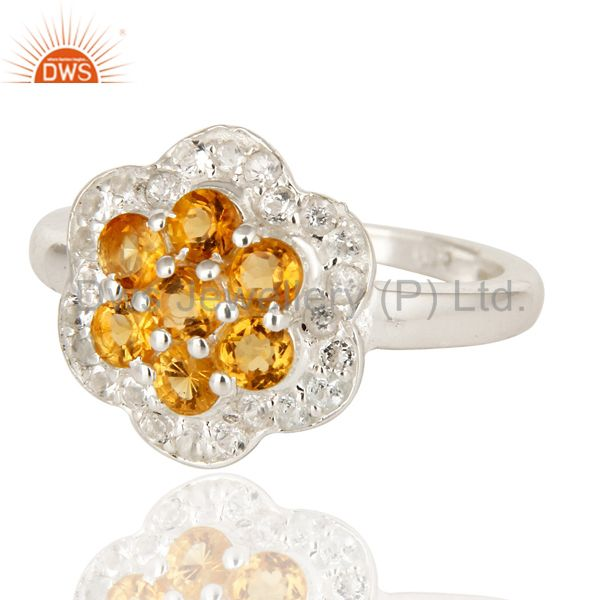 Exporter Natural Citrine And White Topaz Sterling Silver Solitaire Cocktail Ring