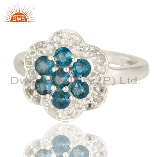 Exporter 925 Sterling Silver Round London Blue Topaz And White Topaz-Accent Ring