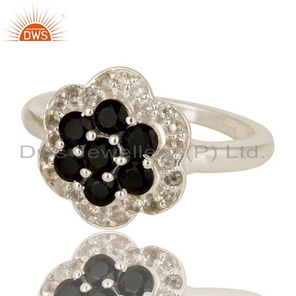 Exporter 925 Sterling Silver Black Onyx And White Topaz Gemstone Cluster Cocktail Ring