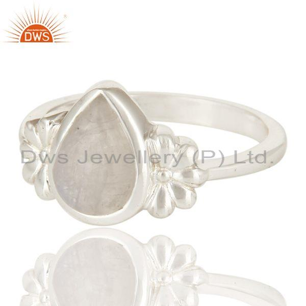 Exporter 925 Sterling Silver Natural Rainbow Moonstone Fine Gemstone Ring