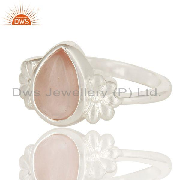 Exporter 925 Sterling Silver Natural Rose Quartz Fine Gemstone Ring