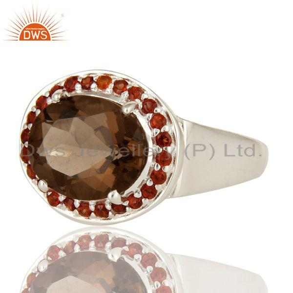 Exporter 925 Sterling Silver Smoky Quartz And Garnet Gemstone Ring