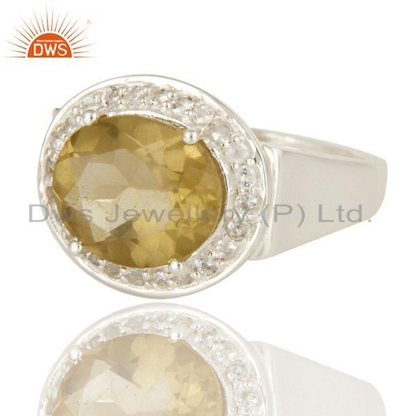 Exporter 925 Sterling Silver Citrine Gemstone And White Topaz Cocktail Ring