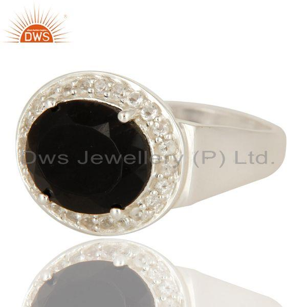 Exporter 925 Sterling Silver Prong Set Black Onyx And White Topaz Cocktail Ring