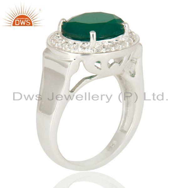 Exporter 925 Sterling Silver Green Onyx And White Topaz Solitaire Ring