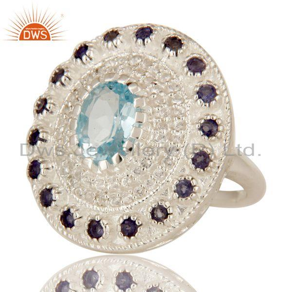 Exporter Designer Iolite And Blue Topaz Sterling Silver Cocktail Ring With White Topaz