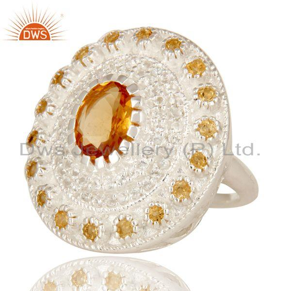 Exporter 925 Sterling Silver Citrine And White Topaz Gemstone Designer Cocktail Ring