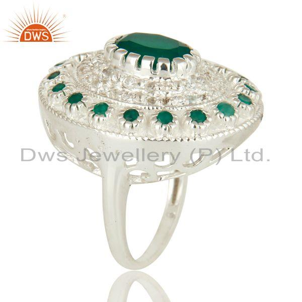 Exporter 925 Sterling Silver Green Onyx And White Topaz Cocktail Fashion Ring