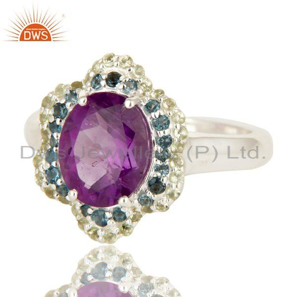 Exporter 925 Sterling Silver Blue Topaz, Peridot And Amethyst Gemstone Ring