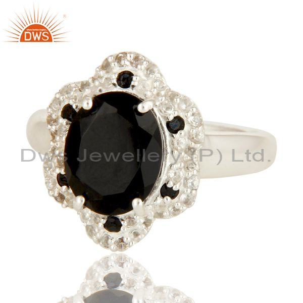 Exporter 925 Sterling Silver Black Spinel And White Topaz Gemstone Cocktail Ring