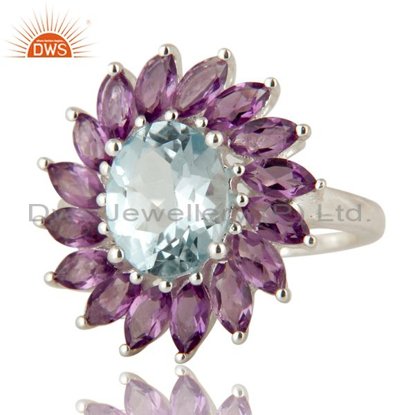 Exporter 925 Sterling Silver Solitaire Blue Topaz And Amethyst Floral Ring