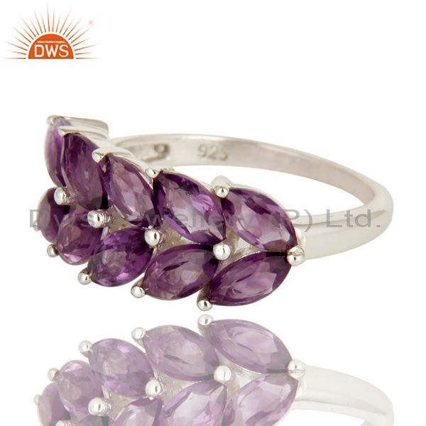 Exporter 925 Sterling Silver Natural Amethyst Marquise Cut Gemstone Cluster Ring