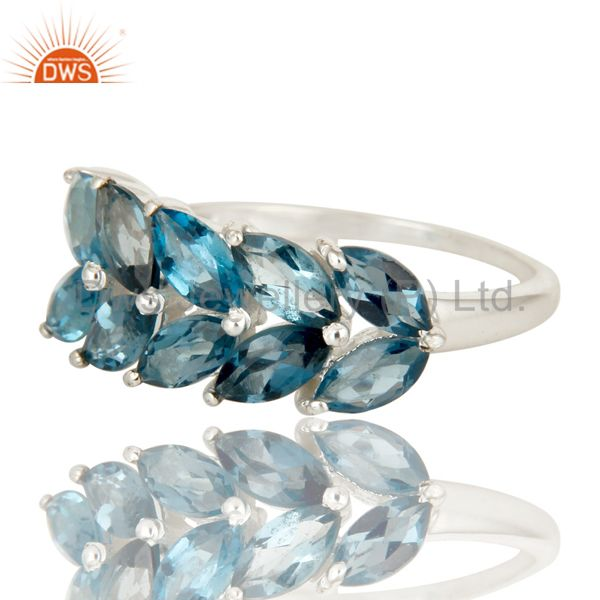 Exporter 925 Sterling Silver London Blue Topaz Gemstone Engagement Ring Eternity Jewelry