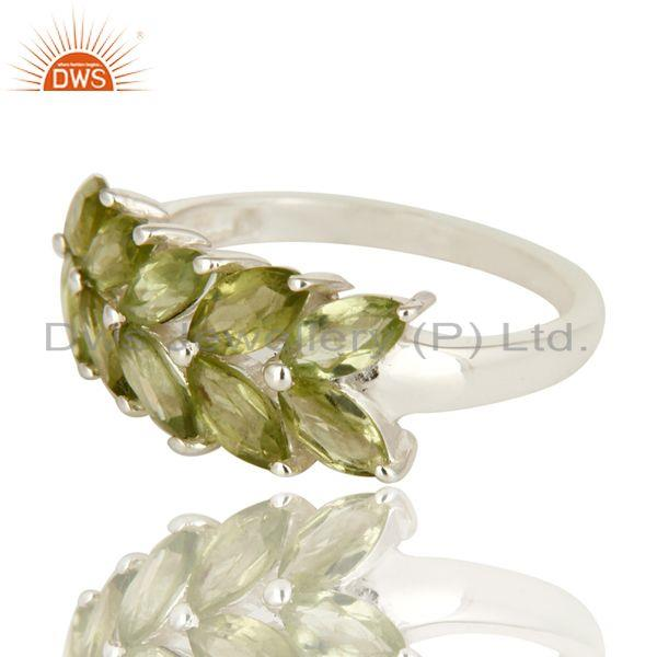 Exporter 925 Sterling Silver Natural Peridot Gemstone Marquise Cluster Ring