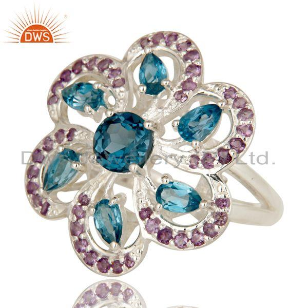 Exporter 925 Sterling Silver London Blue Topaz & Amethyst Prong Set Flower Cocktail Ring