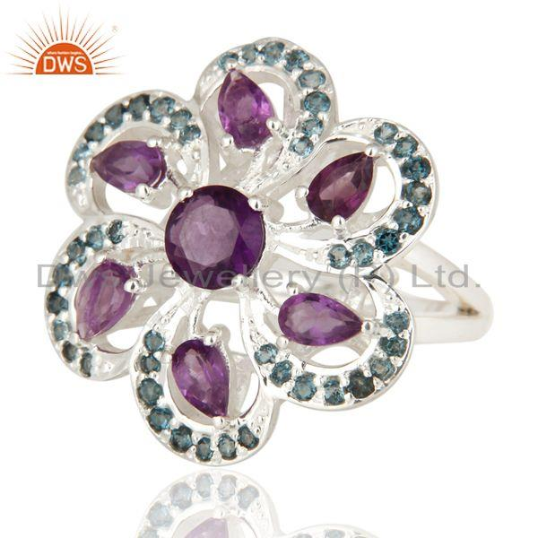 Exporter Flower Design London Blue Topaz And Amethyst Ring in Sterling Silver