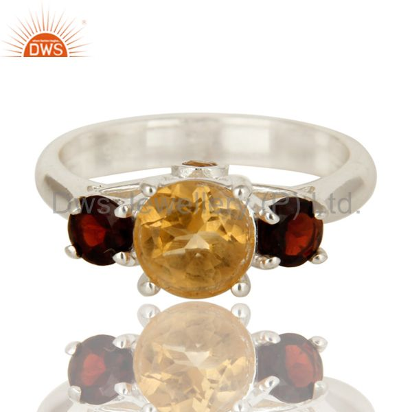 Exporter 925 Sterling Silver Citrine And Garnet Gemstone Prong Set Ring
