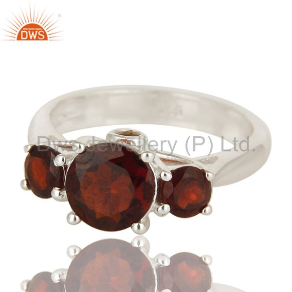 Exporter Natural Garnet And Citrine Gemstone Sterling Silver Solitaire Ring