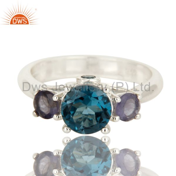 Exporter 925 Sterling Silver London Blue Topaz And Iolite Gemstone Cluster Ring
