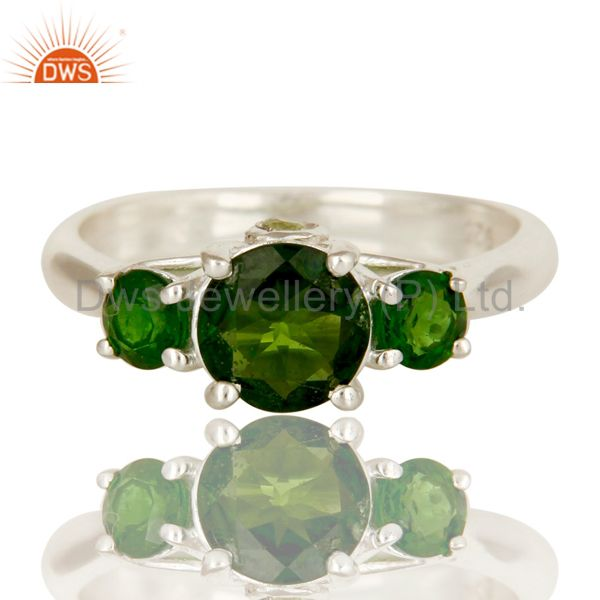 Exporter 925 Sterling Silver Chrome Diopside And Peridot Prong Set Three Stone Ring