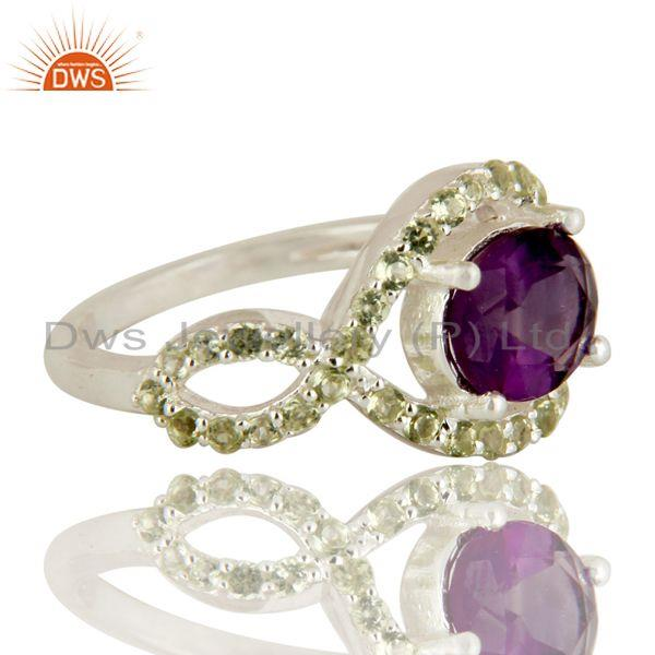 Exporter 925 Sterling Silver Amethyst And Peridot Solitaire Ring