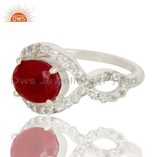 Exporter 925 Sterling Silver Ruby And White Topaz Prong Set Gemstone Designer Ring