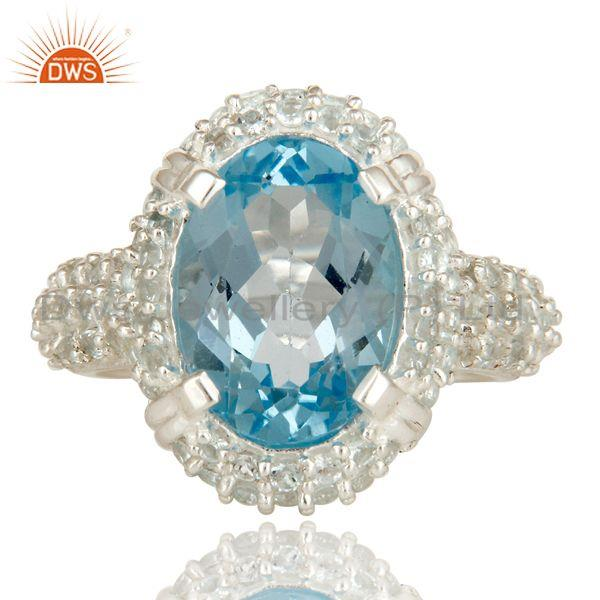Exporter 925 Sterling Silver Natural Sky Blue Topaz Gemstone Solitaire Halo Ring