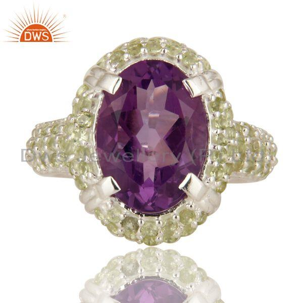 Exporter 925 Sterling Silver Amethyst And Peridot Gemstone Halo Style Cocktail Ring