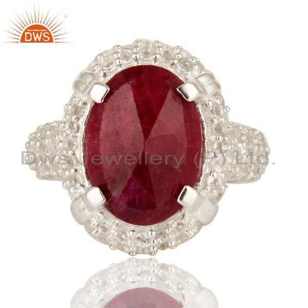 Exporter 925 Sterling Silver Indian Ruby Corundum And White Topaz Statement Ring