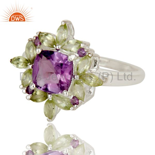 Exporter 925 Sterling Silver Amethyst And Peridot Flower Designer Cocktail Ring