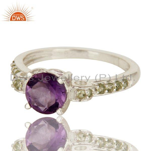 Exporter 925 Sterling Silver Amethyst And Peridot Gemstone Round Cut Cluster Ring