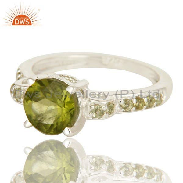 Exporter 925 Sterling Silver Natural Peridot Gemstone Halo Solitaire Engagement Ring