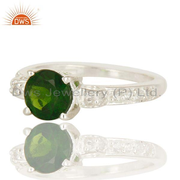 Exporter 925 Sterling Silver Chrome Diopside Round Cut White Topaz Gemstone Halo Ring