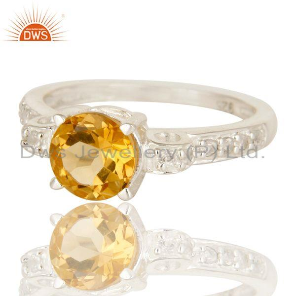 Exporter Natural Citrine And White Topaz 925 Sterling Silver Halo Inspired Solitaire Ring