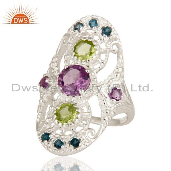 Exporter 925 Sterling Silver Amethyst, Blue Topaz And Peridot Cluster Statement Ring