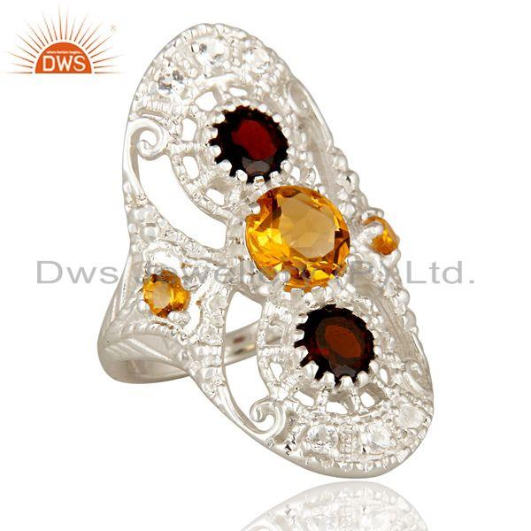 Exporter 925 Sterling Silver Citrine Garnet And White Topaz Statement Ring