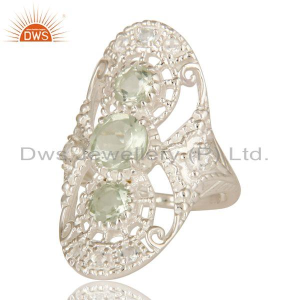 Exporter 925 Sterling Silver Green Amethyst And White Topaz Statement Ring