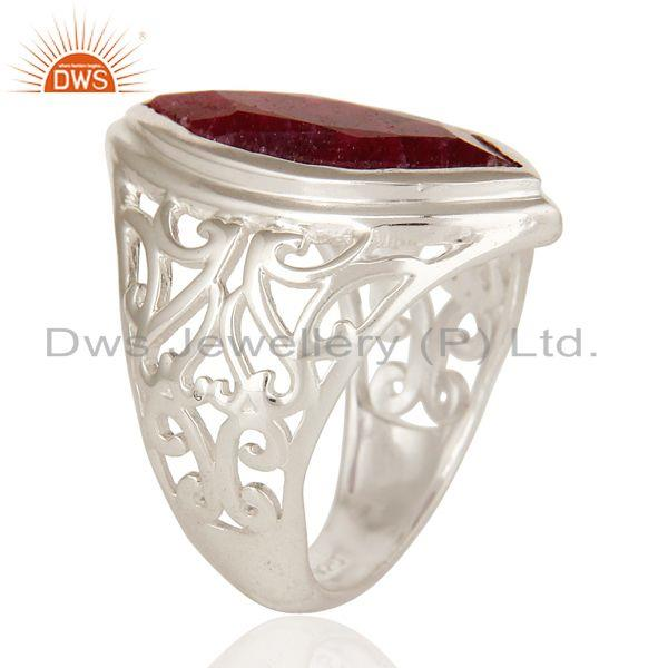 Exporter 925 Sterling Silver Red Ruby Corundum Gemstone Marquise Cut Statement Ring