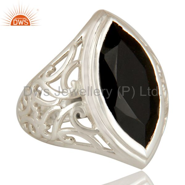 Exporter Marquise Cut Black Onyx Gemstone Ring In Solid Sterling Silver