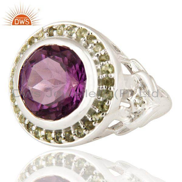 Exporter Natural Amethyst And Peridot Sterling SIlver Cocktail Ring