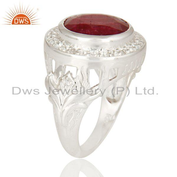Exporter Red Corundum And White Topaz 925 Sterling Silver Cocktail Ring