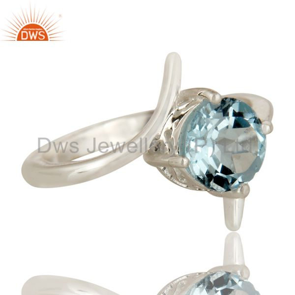 Exporter 925 Sterling Silver Blue Topaz Gemstone Solitaire Engagement Ring