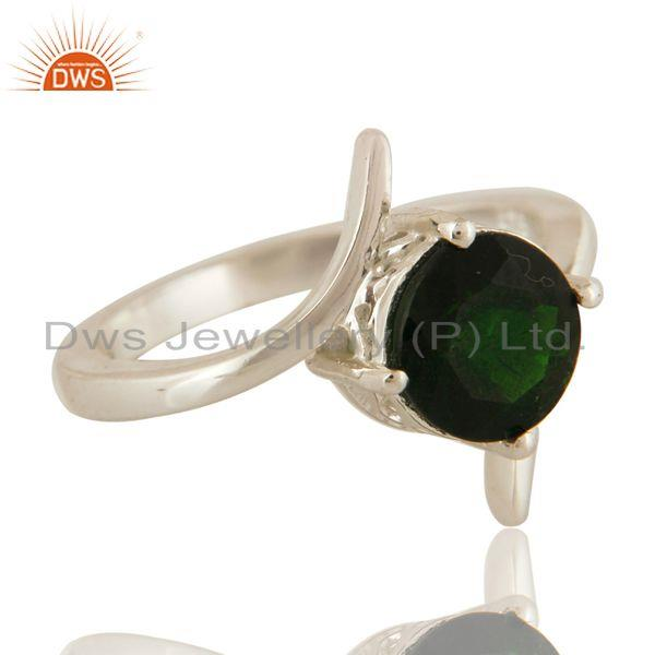 Exporter Natural Chrome Diopside Round Cut Genuine Sterling Silver Ring