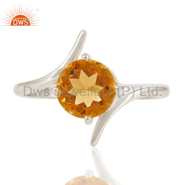 Exporter Natural Citrine Gemstone Genuine Sterling Silver Solitaire Ring